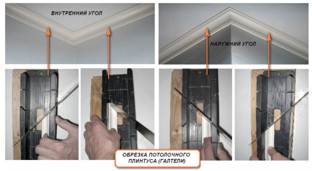 отрезать углы потолочного плинтуса