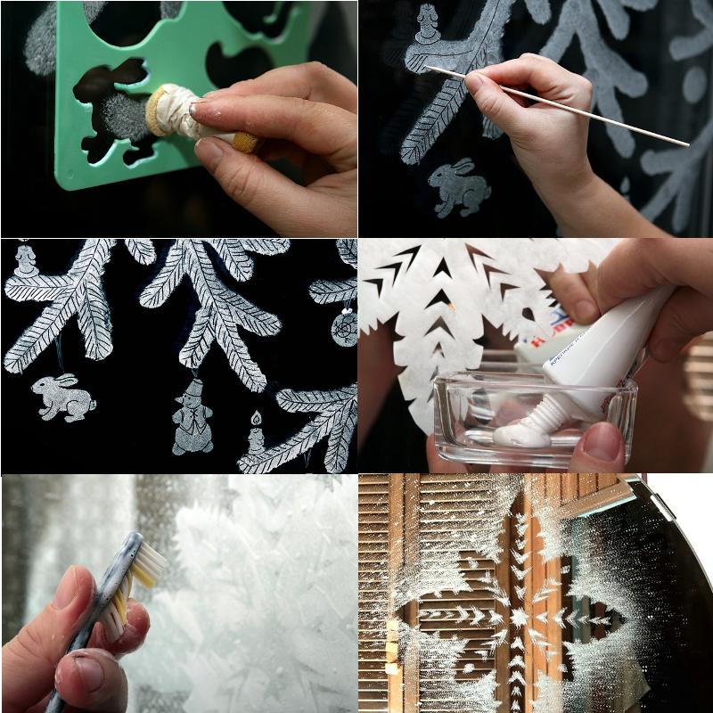 как украсить окна к новому году зубной пастой