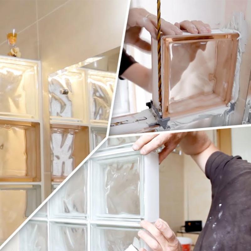 Возведение перегородки из стеклоблоков