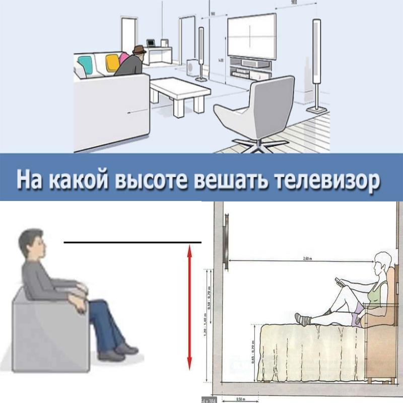 На какой высоте устанавливать телевизор