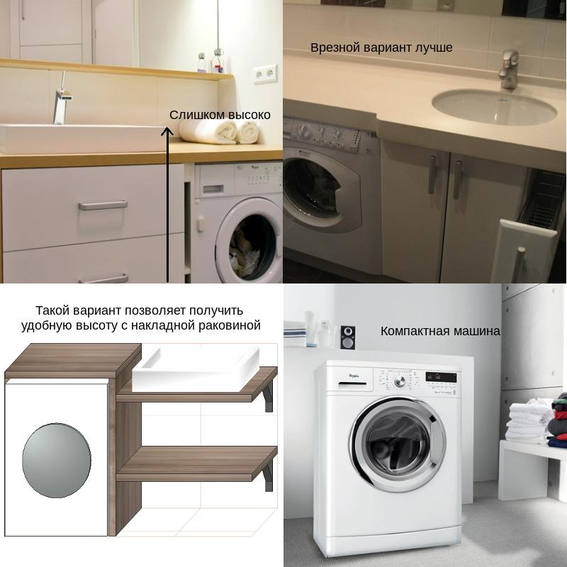 Столешница, накладная раковина и стиральная машина. Как совместить по высоте?