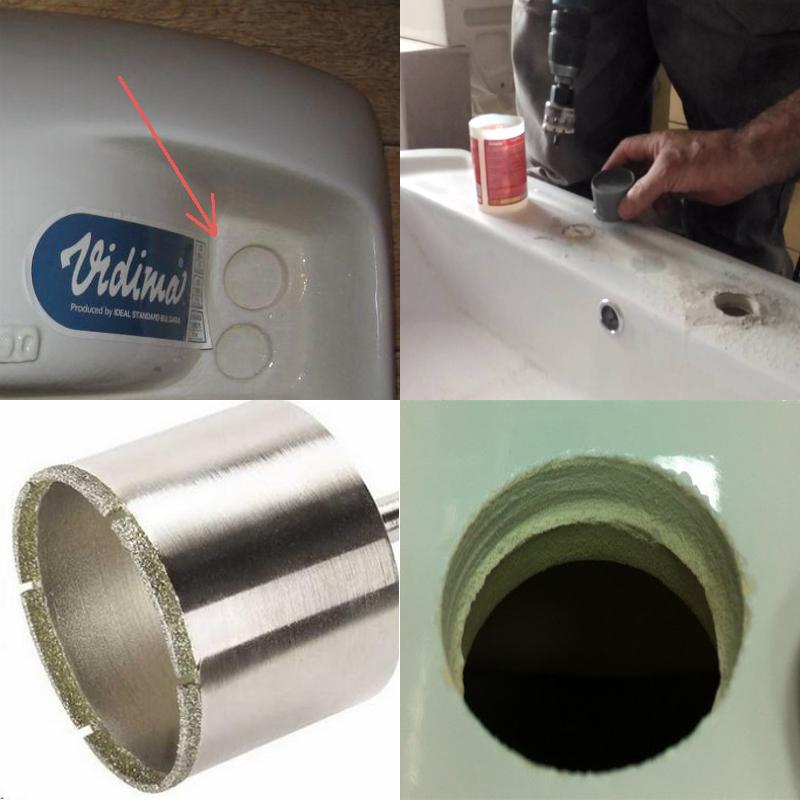 просверлить отверстие под смеситель в керамической раковине