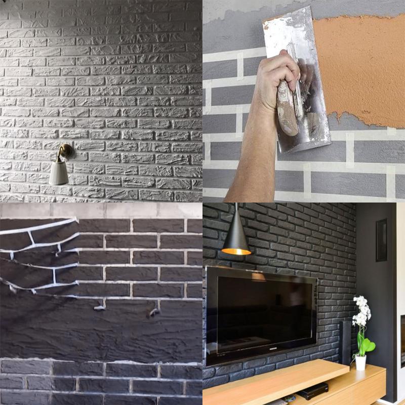 Имитация кирпичной стены с помощью штукатурки